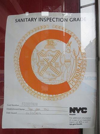 Restaurant affichant un C à New York