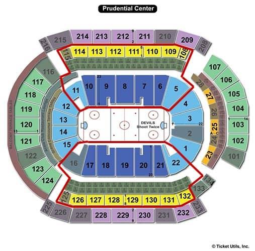 New Jersey Devils - Prudential Center Plan du Stade