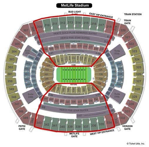 New York Giants - MetLife Stadium Plan du Stade