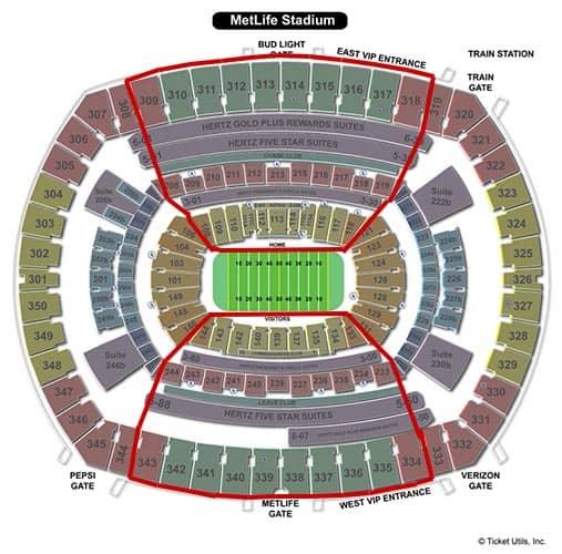 New York Giants - MetLife Stadium Plan du Stade