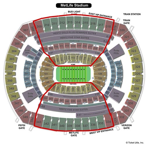 New York Jets - MetLife Stadium Plan du Stade