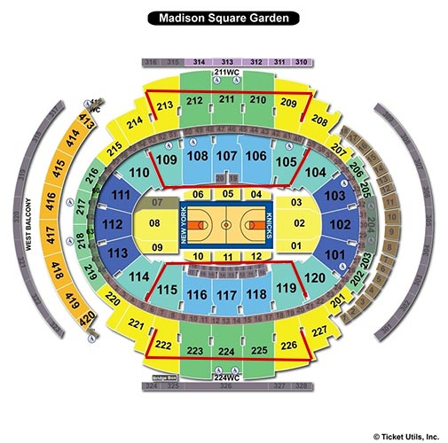 New York Knicks - Madison Square Garden Plan du Stade