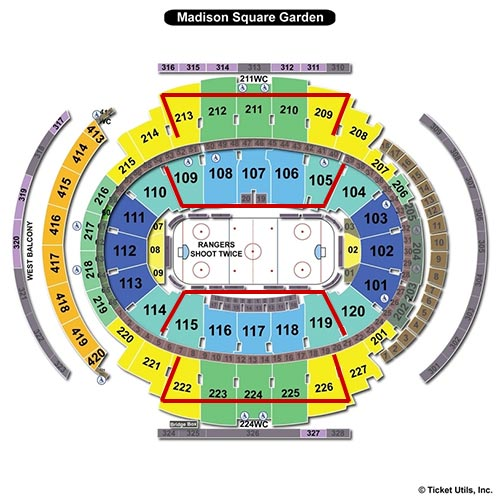 New York Rangers - Madison Square Garden Plan du Stade