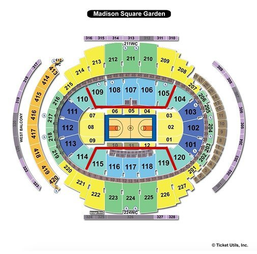 New York Liberty Basketball Tickets - Plan du stade